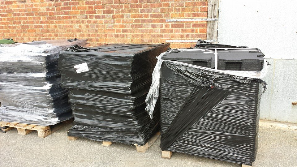 3 tons of rubber flooring.
