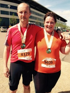 Debs and Alex after completing the Milton Keynes half marathon