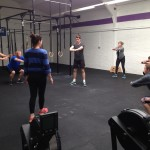 """Sunday's class warm up ready for front squats and """"Del"""""""